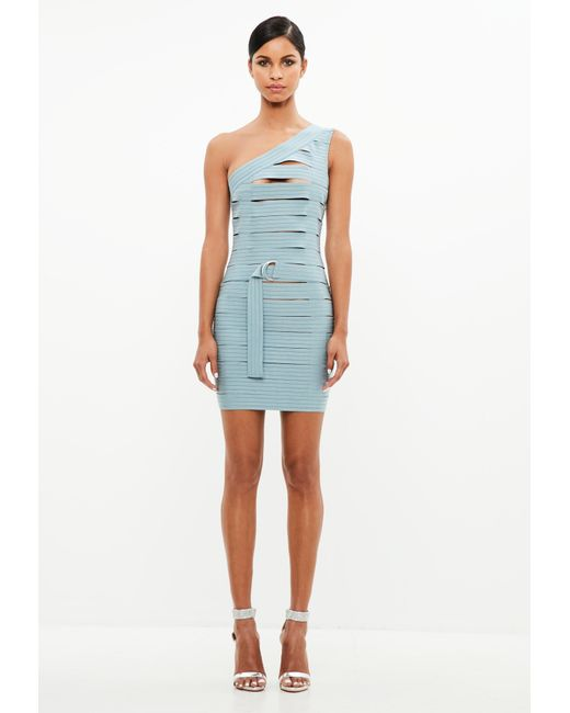 9bd35c2671 Lyst - Missguided Peace + Love Blue Bandage One Shoulder Dress in Blue