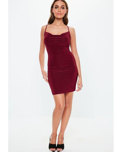 9ae1957c7e4c ... Missguided - Red Burgundy Slinky Cowl Mini Dress - Lyst ...