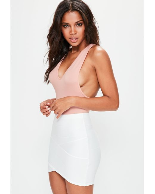Missguided | Multicolor Peach Racer Back Plunge Bodysuit | Lyst