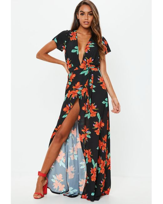 Missguided Black Plunge Wrap Floral Maxi Dress in Black - Lyst 7e0001eb0