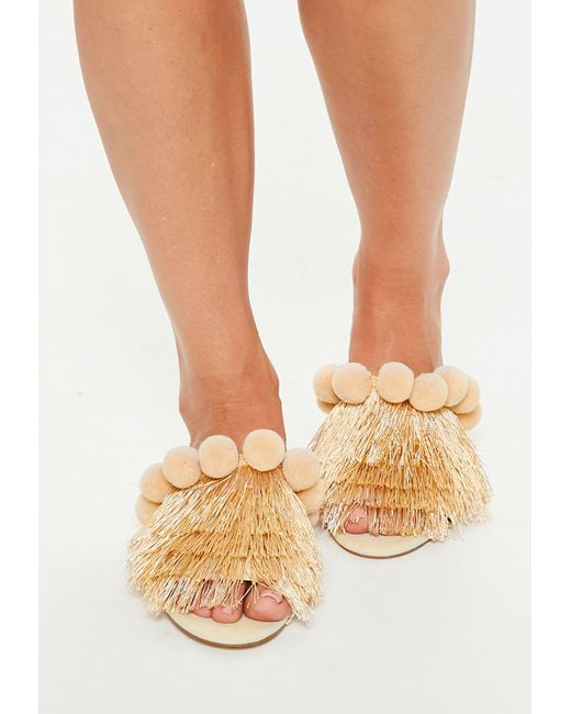 Missguided - Natural Cream Pom Pom Multi Colour Slip Sandals - Lyst