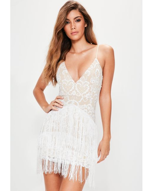 Missguided - White Embroidered Fringe Detail Bodycon Dress - Lyst ...