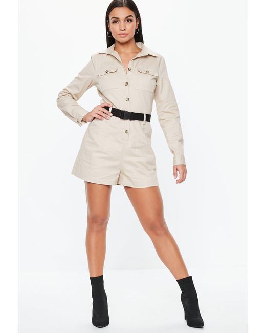 4439f37b4c ... Missguided - Natural Sand Utility Long Sleeve Belted Playsuit - Lyst ...