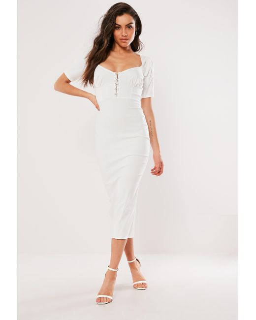 b8bbf60eac768 Lyst - Missguided White Milkmaid Hook And Eye Bodycon Midi Dress in ...