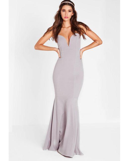 Missguided - Scuba Bandeau Fishtail Maxi Dress Gray - Lyst