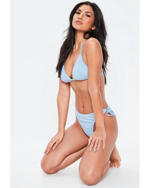c80ed14705112 Missguided - Blue Mix And Match Ribbed Triangle Bikini Top - Lyst ...