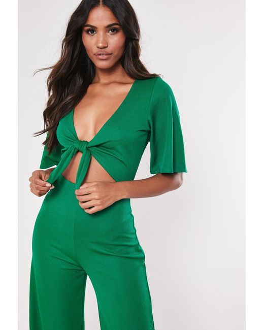 311177408c7 Lyst - Missguided Tall Green Kimono Sleeve Cut Out Jumpsuit in Green