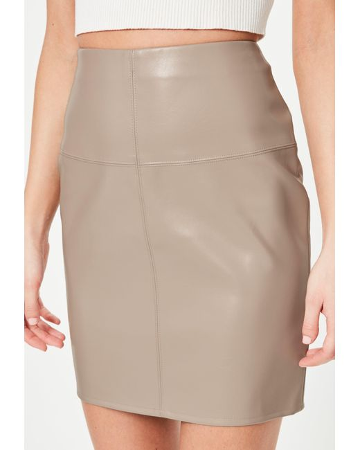 missguided grey faux leather mini skirt in gray lyst