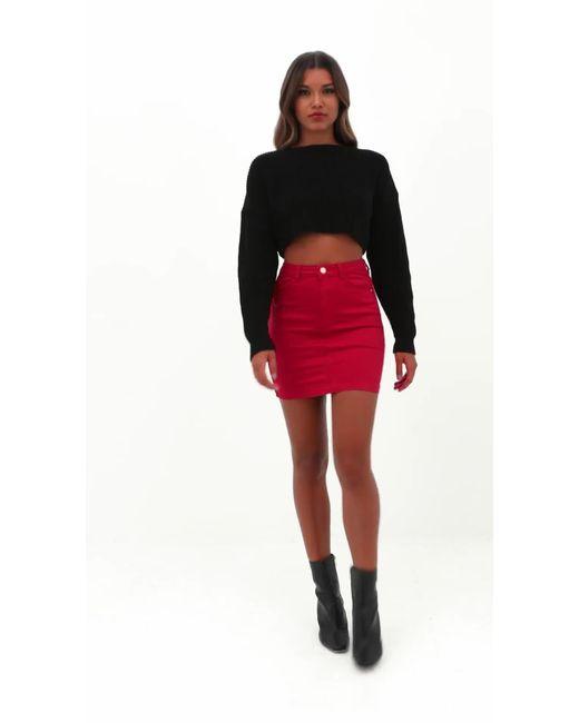 12afbcee254d Missguided Red Denim Super Stretch Mini Skirt in Red - Lyst