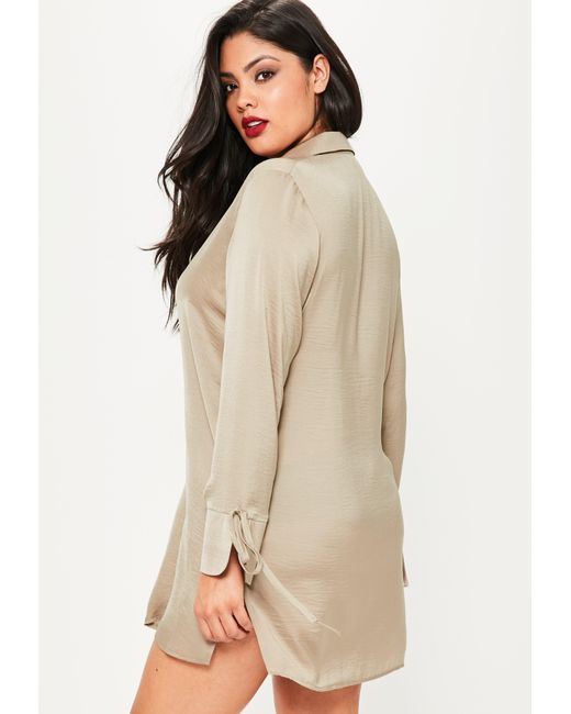 Missguided plus size brown hammered satin shirt dress in for Satin shirt dress plus size