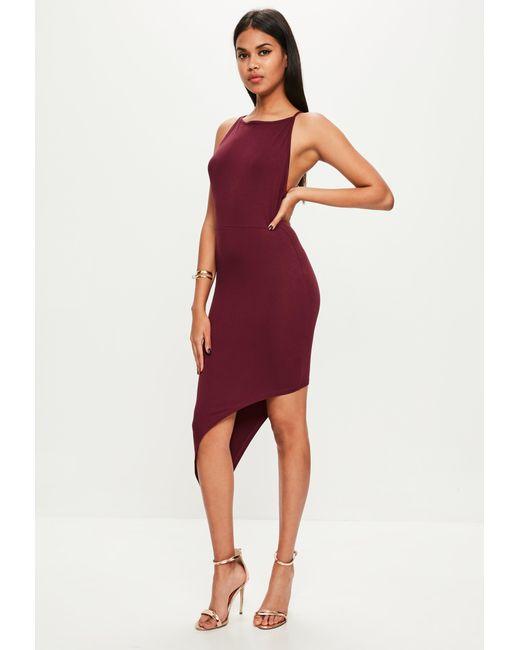 Missguided - Red Burgundy Jersey Asymmetric Hem Bodycon Dress - Lyst