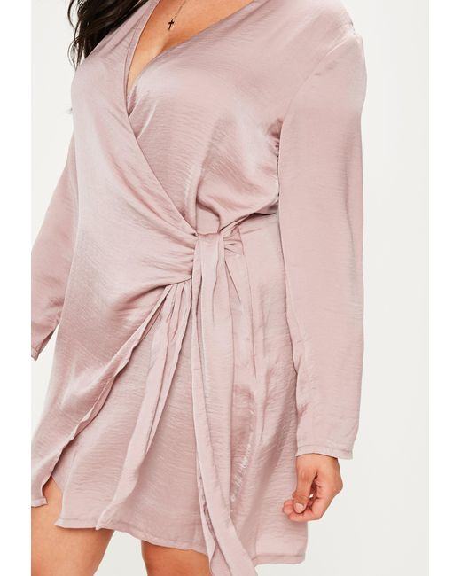 Missguided Plus Size Mauve Wrap Tie Waist Shirt Dress In