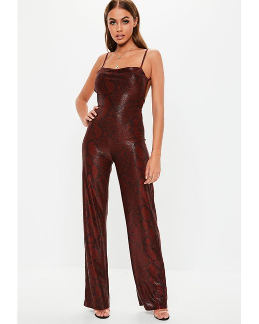 b2262a2c488d ... Missguided - Red Shimmer Snake Print Jumpsuit - Lyst ...