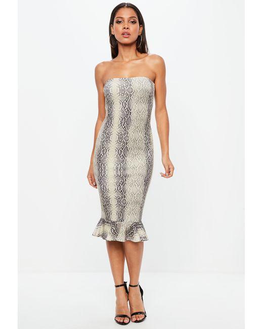 Missguided - Gray Snake Print Bandeau Flippy Hem Midi Dress - Lyst