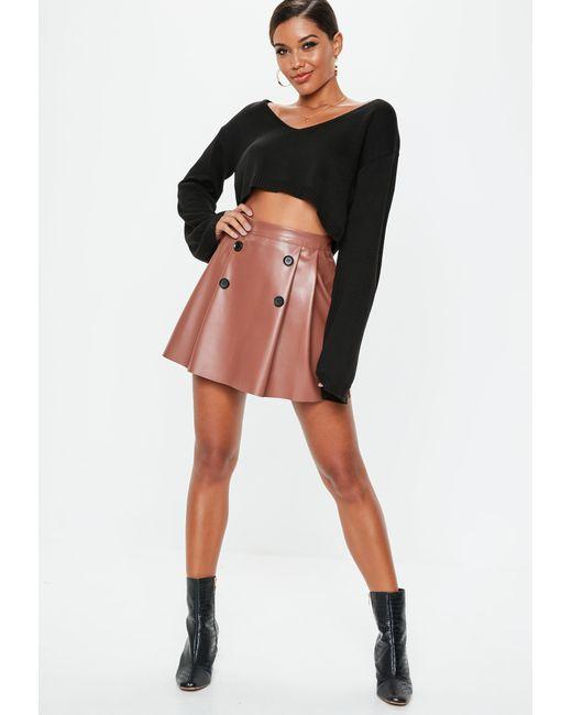 bb9563b322 Missguided - Black Toffee Pu Button Pleated Mini Skirt - Lyst ...