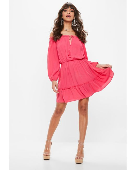 33e7995935 Lyst - Missguided Pink Bardot Tassel Skater Dress in Pink