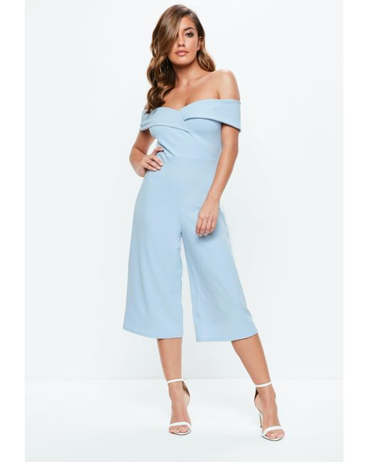 83d807510398 Lyst - Missguided Powder Blue Bardot Culotte Jumpsuit in Blue