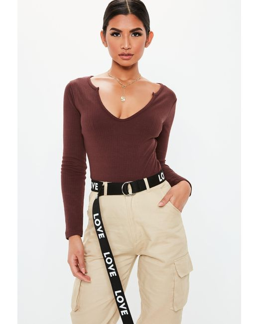 ff6d451c59 Missguided - Multicolor Wine Long Sleeve Rib Notch Neck Bodysuit - Lyst ...