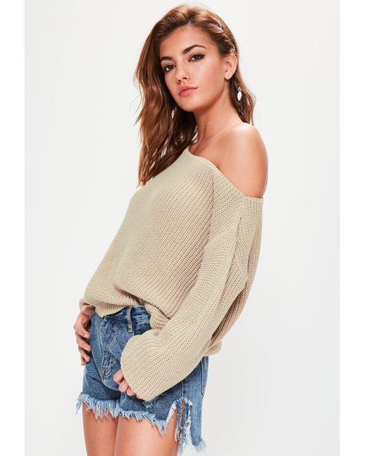 Missguided - Natural Beige Off Shoulder Knitted Jumper - Lyst