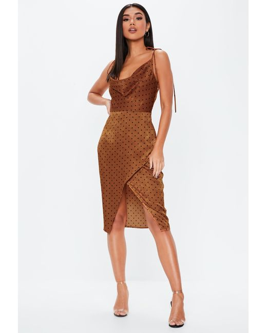 745048cbe9d Missguided - Brown Rust Polka Dot Cowl Split Front Midi Dress - Lyst ...