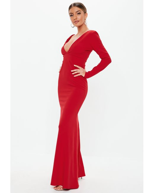 88ab8da9d99 Lyst - Missguided Red Long Sleeve Plunge Maxi Dress in Red