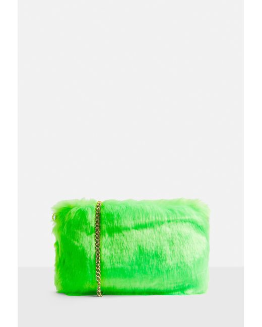 Missguided - Neon Green Faux Fur Bag - Lyst
