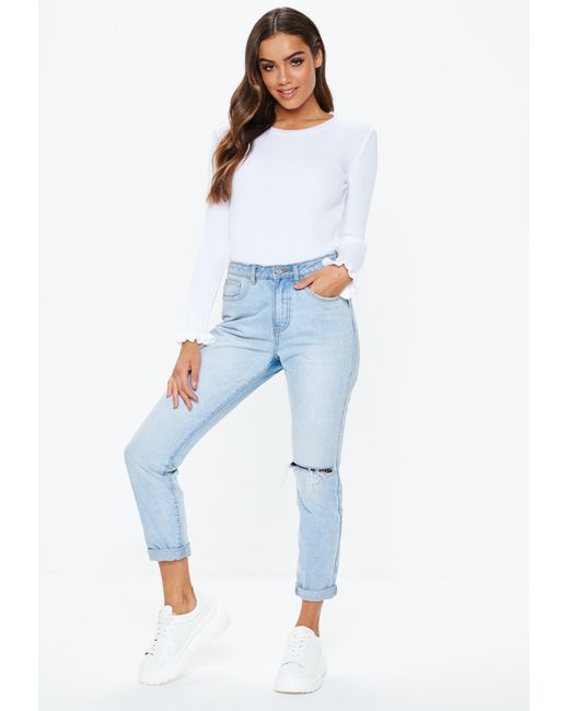 9772b0f5eaaaf ... Missguided - White Frill Ribbed Knitted Top - Lyst ...