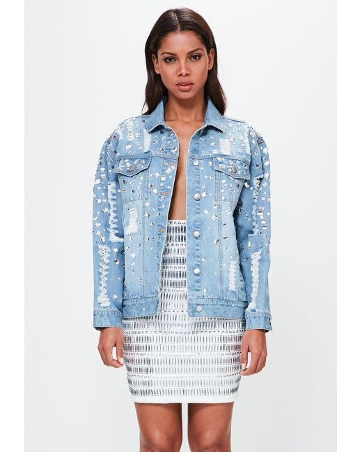 Missguided | Peace + Love Blue Oversized Embellished Denim Jacket | Lyst