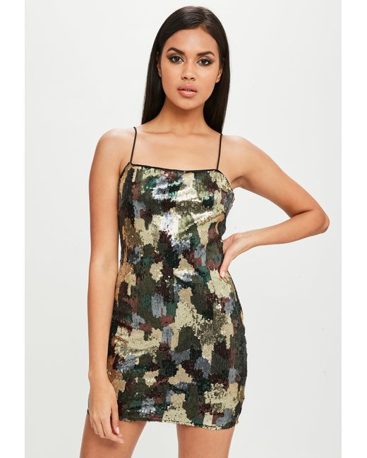 Missguided - Carli Bybel X Green Camo Sequin Dress - Lyst