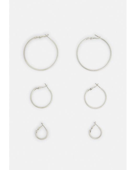 Missguided - Metallic Silver Look Hoop Multipack - Lyst