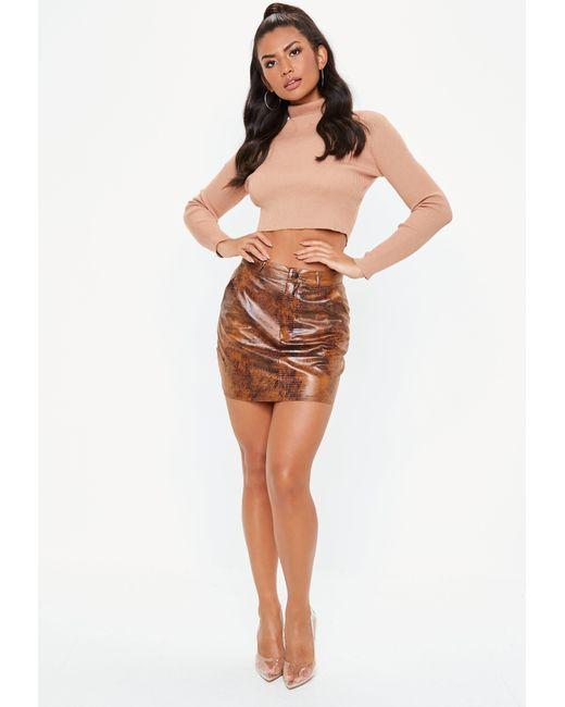b86db6ebe ... Missguided - Brown Snake Skin Pocket Detail Mini Skirt - Lyst ...