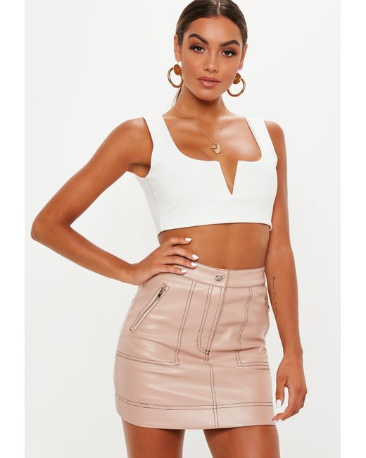 12b557519 Lyst - Missguided Pink Faux Leather Mini Skirt in Pink