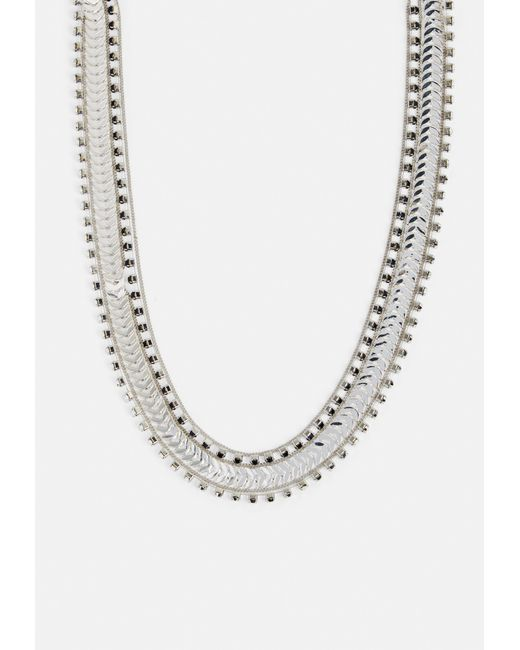 Missguided - Metallic Silver Chain Diamante Necklace - Lyst