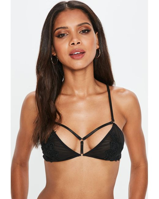 Missguided - Black Mesh Applique Harness Bra - Lyst