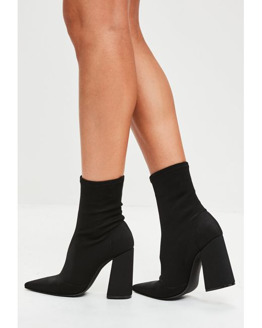 Missguided - Black Flared Heel Sock Boots - Lyst