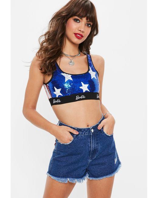 Missguided - Barbie X Blue Logo Sequin Crop Top - Lyst