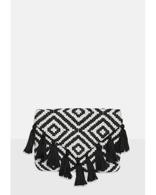 Missguided - Black Aztec Tassel Clutch Bag - Lyst