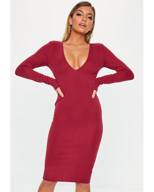 bd4418c6f61 Missguided - Red Burgundy Long Sleeve Midi Dress - Lyst ...