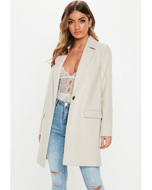 f2e3ff5c20cd4 Missguided Cream Front Button Slim Coat in Natural - Lyst