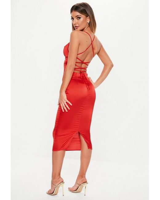 054c9c500d2 Missguided Red Satin Cowl Lace Up Back Midi Dress in Red - Lyst