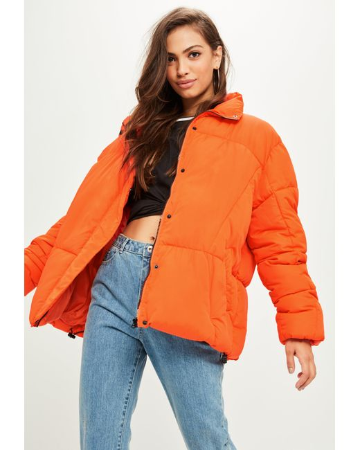 Missguided   Orange Oversized Padded Jacket   Lyst