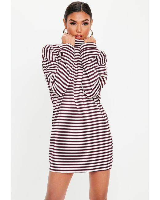 31d88c3e2f2 Missguided - Multicolor Berry High Neck Stripe Sweater Dress - Lyst ...