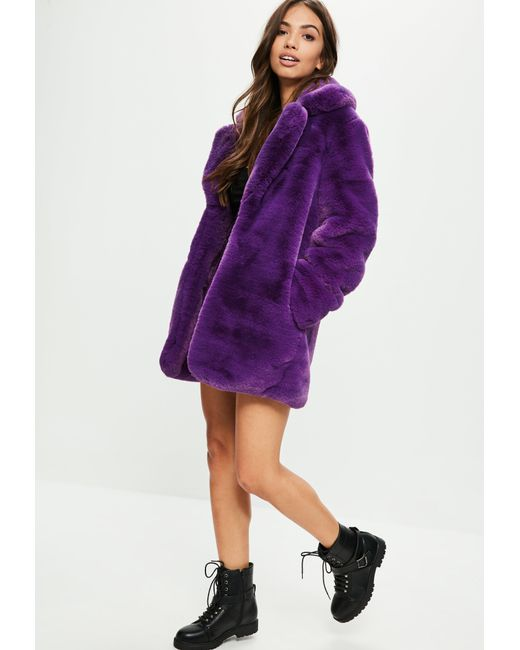 Missguided - Purple Faux Fur Coat With Collar - Lyst