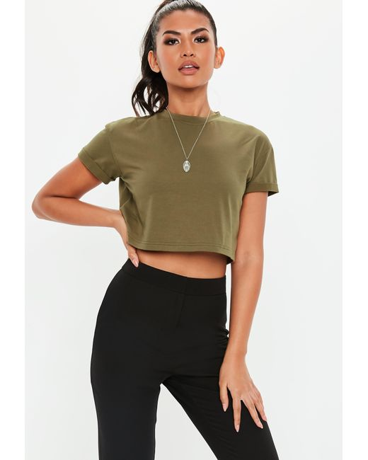 3766c5bef0a34 Missguided - Multicolor Petite Khaki Roll Sleeve Crop Top - Lyst ...