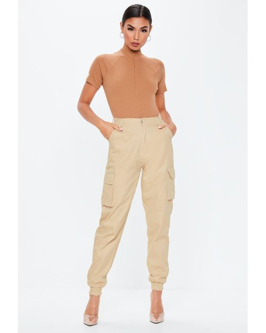 0fbb4dfd79 Missguided - Natural Camel Ribbed High Neck Zip Front Bodysuit - Lyst ...