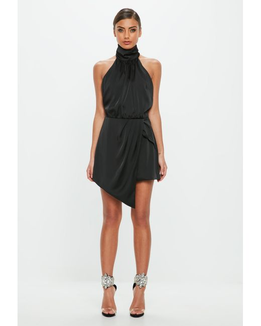 db28bf8d10 ... Missguided - Peace + Love Black High Neck Satin Wrap Playsuit - Lyst ...