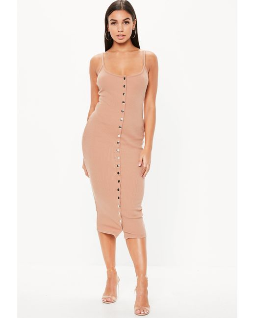 7d2019cabf Missguided - Natural Tall Nude Strappy Ribbed Bodycon Midi Dress - Lyst ...