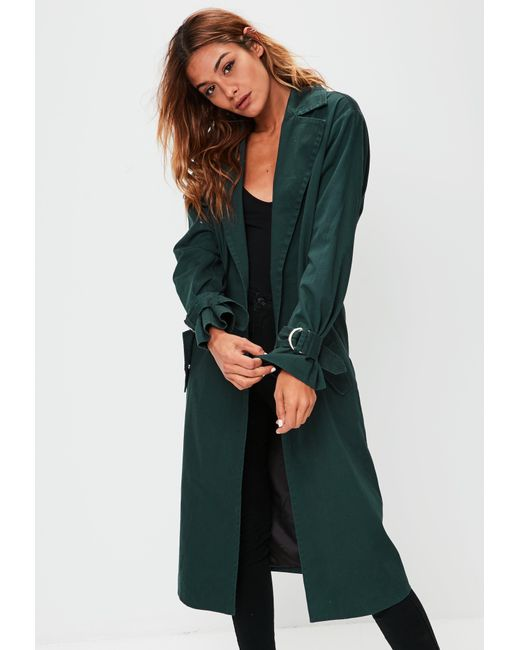Missguided | Green D Ring Cuff Trench Coat | Lyst