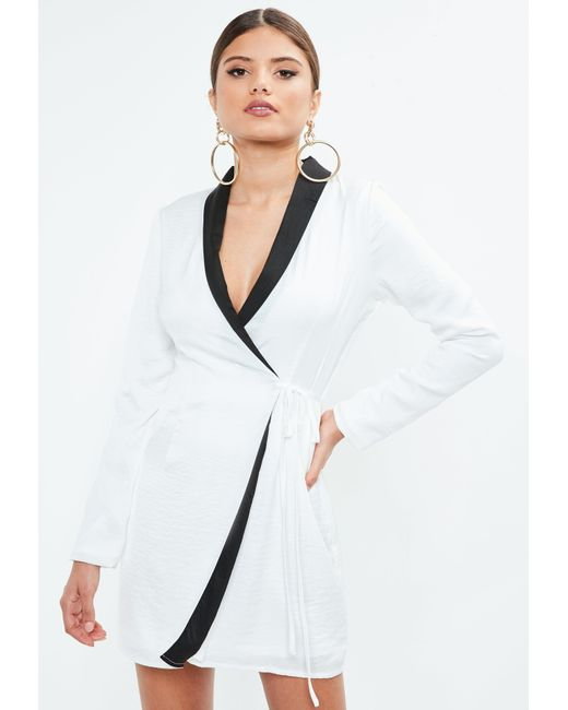 Missguided - White Hammered Satin Monochrome Blazer Dress - Lyst