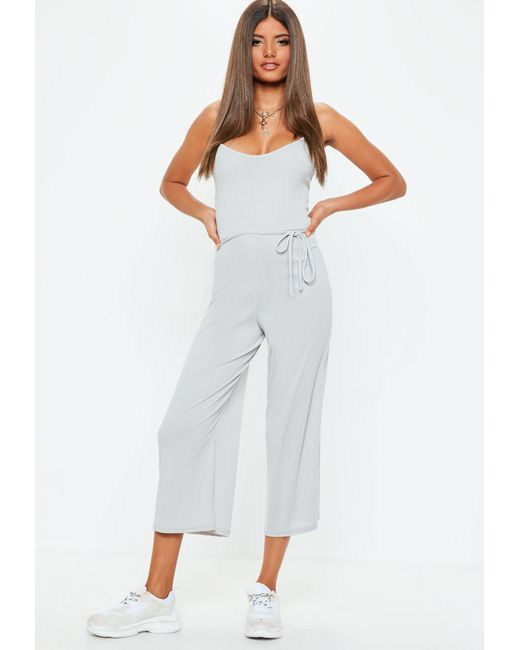 c9f34be60bf Lyst - Missguided Gray Ribbed Culotte Jumpsuit in Gray